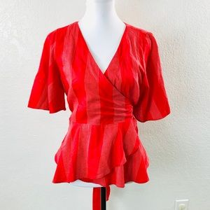 Loft Blouse Womans Sz S Red White Wrap Tie Top